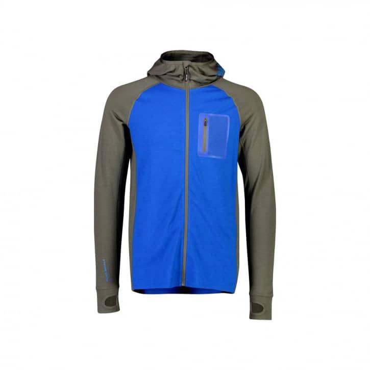 Bekleidung: Mons Royale  Traverse Midi Full Zip Hood Olive Rebel Blue XL