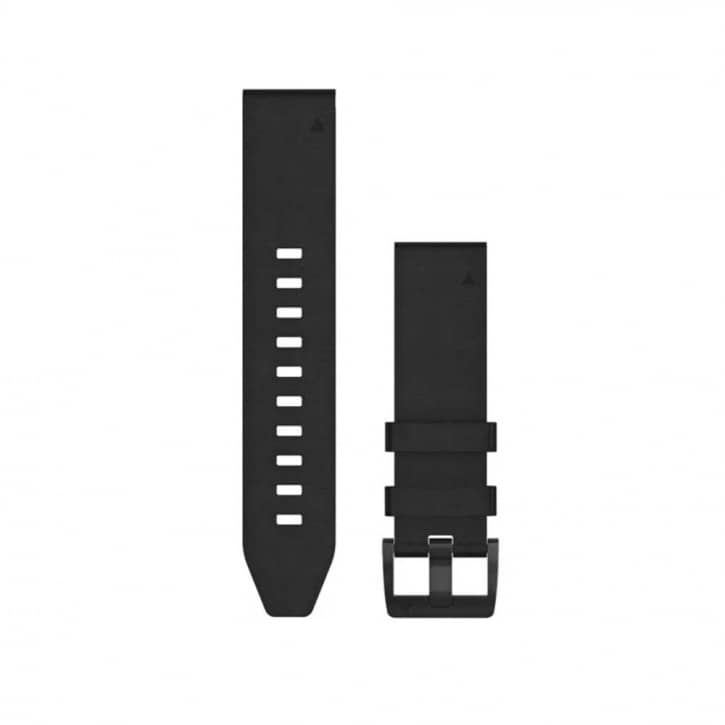 : Garmin  Quickfit Leder Armband 22mm Schwarz Schnalle in Schwarz