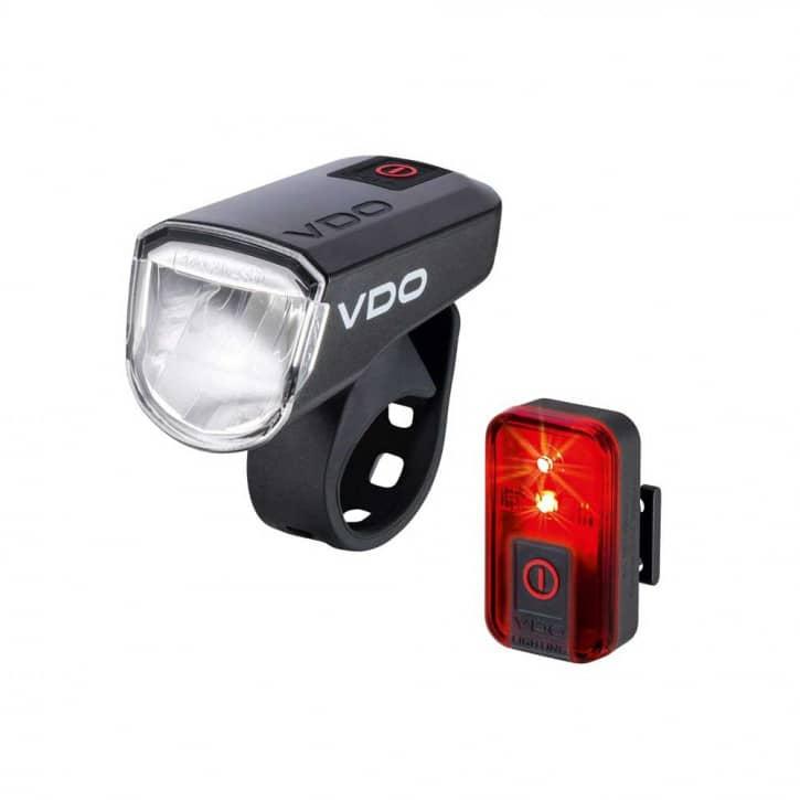 Fahrradteile/Beleuchtung: VDO Cyclecomputing VDO EcoLight M30 Set USB Akku-Lichtset